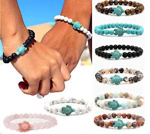 Fashion Elastic Turtle Tortoise Natural Stone Beads Bracelet