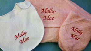 NEW PERSONALISED BABY HOODED TOWEL SET 3PC
