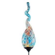 Solar Powered Glass Spiral Swirl Garden Stake