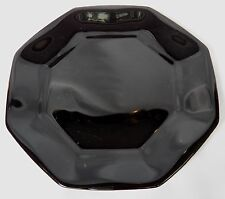 2 VTG ARCOROC FRANCE OCTIME NOVOCTIME BLACK GLASS SALAD PLATES OCTAGON