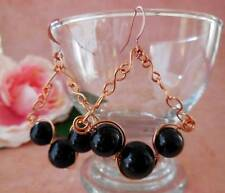 EARRINGS, BLACK GLASS PEARLS, COPPER WIRE WRAPPED, HAND CRAFTED CHAIN - 2766