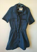 Asos Denim Shirt Dress Blue Pockets Button Front Short Sleeve Utility UK Size 6