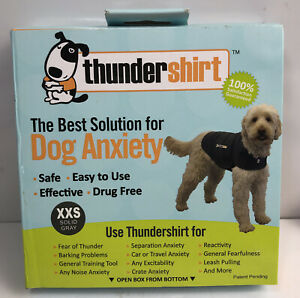 THUNDERSHIRT Dog Anxiety Shirt XXS Solid Gray Safe-Effective-Drug Free NEW