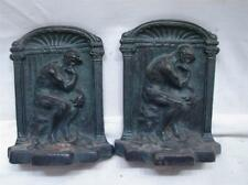 "Vintage Bookends Depicting Rodin's ""The Thinker""Statue in Solid Cast Iron Signed"