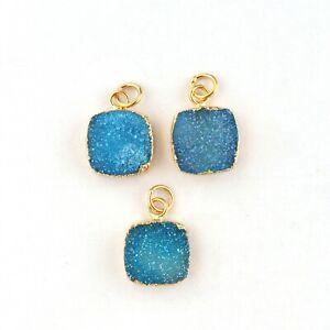 Cushion Shape Sky Blue Sugar Druzy Gold Electroplated Necklace Pendants Lot 3 Pc