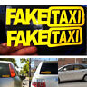 2x FAKE TAXI Fake Taxi Car Auto Van Vinyl Funny Sticker Decal Decor Yellow W