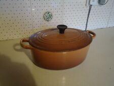 Vintage Le Creuset Cast Iron Casserole with Lid Caramel Brown Size 27