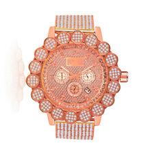 Mens Real Diamond Rose Gold Tone Big Flower Bezel 10 Row Custom Band Ice Watch