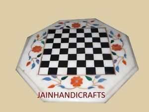 """18"""" Marble Chess Table Top Inlay Mosaic Kids Table handicraft"""