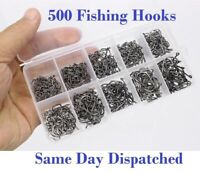 500 Pcs FISHING HOOKS MIX SIZES COARSE CARP TACKLE SET-BAIT SEA Fly HOOKS-RIVER