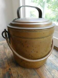 Lovely Antique Copper Saucepan Cooking Pot & Lid French 1800s