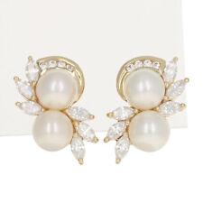 6mm Pearl & Cubic Zirconia Earrings - 14k Yellow Gold Pierced CZ Studs