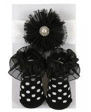 Stephan Baby Just Like Mommy Girl White Pearl Headband & Black Socks Set 680595