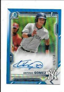Antonio Gomez 2021 Bowman Chrome BLUE REFRACTOR RC AUTO 1st BOWMAN #26/150