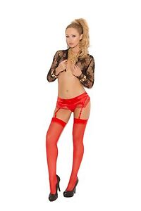 Thigh High Stockings Sheer ELEGANT MOMENTS Blue Black Red White Purple Pink