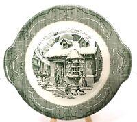 """VTG The Old Curiosity Shop Green 11.5"""" Currier &Ives CAKE PLATE Handled PLATTER"""