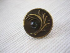 Vintage Small 1/2 Inch Metal Brass Feather Button, Black Glass Rhinestone - M36