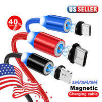 US 1~3M 360° Round Magnetic Fast Charger Charging Cable Adapter IOS/Micro/Type-C