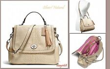 $548 NWT Coach Park Exotic Python Leather Flap Handbag 24392 Silver/Natural