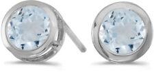 14k White Gold Round Aquamarine Bezel Stud Earrings