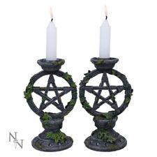 More details for wiccan pentagram candlesticks (set of 2)