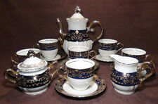 17 pc. THUN KARLOVARSK Cobalt Blue Gold Accent Trim Fine Porcelain China Tea Set