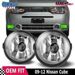 For Nissan Cube 09-12 Factory Bumper Replacement Fit Fog Lights DOT Clear Lens