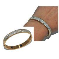 Bracelet jonc en acier inoxydable de couleur or et cristal blanc bijou
