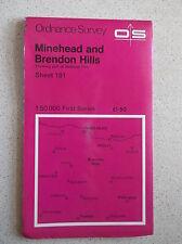 ORDNANCE SURVEY MAP MINEHEAD and BRENDON HILLS SHEET 181 c1979 FIRST SERIES VGC