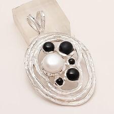 Sterling Silver Handmade Women Fine Jewelry Real BlackOnyx Fresh Mop Pendant 925