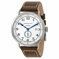 Hamilton Navy Pioneer Silver Dial SS Leather Automatic Mens Watch H78465553