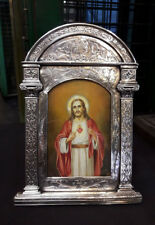 ANTIQUE  MINIATURE PAINTING , SACRED HEART OF JESUS  W/ FRAME