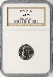 1996-W Mercury Dime 10c NGC MS65