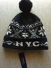 NEW RALPH LAUREN POLO SKI SNOW HAT/CAP/BEANIE WOOL BLACK NYC NEW YORK CITY 1 SIZ