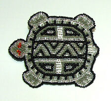 """Beaded Turtle Barrette 3.5"""" W x 3"""" L Leather Backed French Clip Regalia #01"""
