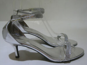 """New Silver Rhinestone 2""""Heel Shiekh Janee Shoes Strappy Ankle WOMEN Size 10"""