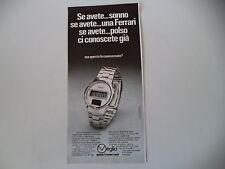 advertising Pubblicità 1977 OROLOGIO VEGLIA CRONOGRAFO SOLAR TIME