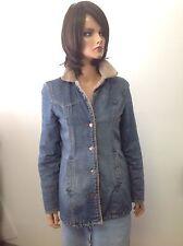 Old Navy Denim Jeans Coat Faux Fur Lining Designer Fashion Hip Boho
