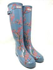 Hunter Size 8/UK 6/EU 39 Blue Blossom Tall Womens Rain Boots NIB