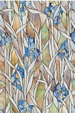 Iris Privacy Stained Glass Window Film Floral Vinyl Static Cling Films NEW 24x36