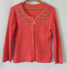 Designer Cardigan Wool Blend Coral Sequin Beading Size S