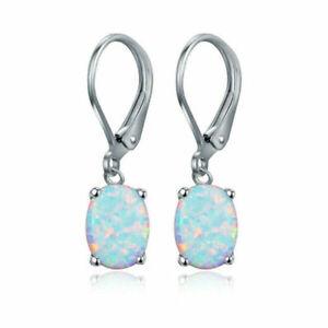 Fashion 925 Silver Earrings Oval White Fire Opal Ear Hook Drop Women Jewelry