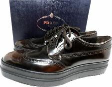PRADA Men's Leather Platform Derby Oxford Shoes Brogue Loafer Moccasins 11.5 US