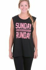 Miken FLOW Get Moving Black Sunday Runday Yoga Muscle Tank Top Women's XL