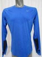 Nike Runner Dri-Fit Size L Blue Thumb Hole Shirt