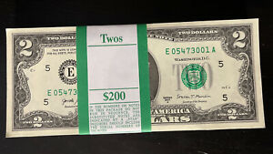 ONE STACK of 2017A TWO DOLLAR $2 Notes CRISP UNCIRCULATED BEP PACK from BRICK