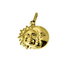 14K Yellow Gold Small Sun & Moon Charm Pendant
