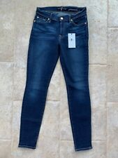 7 For All Mankind 'Gwenevere' Skinny Jeans Sz 27 Mid-Rise Dark Wash NWT 29.5 Ins