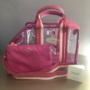 Kate Spade Sam See-Through Medium Satchel Pink/Clear with Pink Pouch NWT $329