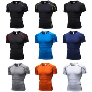 Men's Tight Short Sleeve T-Shirt Fitness Running Quick Dry Elastic Sports Tops
